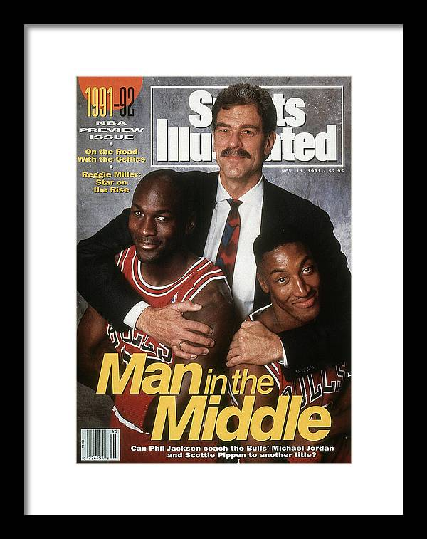 Chicago Bulls Framed Print featuring the photograph Chicago Bulls Coach Phil Jackson, Michael Jordan, And Sports Illustrated Cover by Sports Illustrated