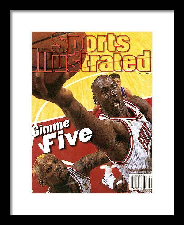 Magazine Cover Framed Print featuring the photograph Chicago Bulls Michael Jordan, 1997 Nba Finals Sports Illustrated Cover by Sports Illustrated