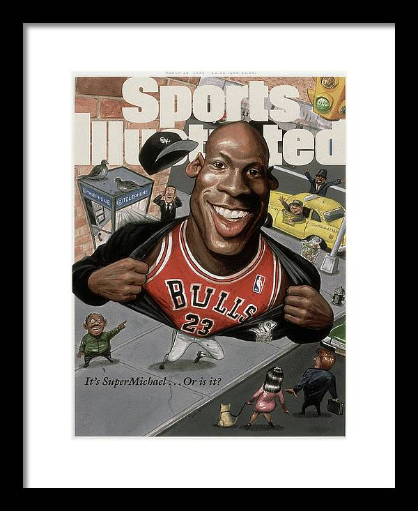 Chicago Bulls Framed Print featuring the photograph Chicago Bulls Michael Jordan Its Supermichael . . . Or Is It Sports Illustrated Cover by Sports Illustrated