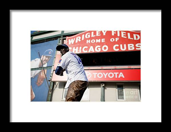 American League Baseball Framed Print featuring the photograph Chicago Cubs Fans Watch Wild Card Game by Jon Durr