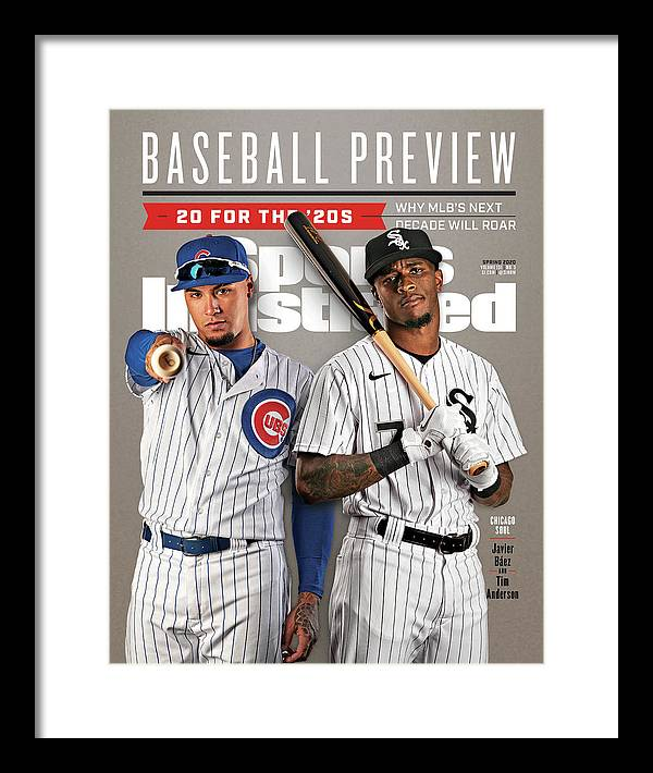 Magazine Cover Framed Print featuring the photograph Chicago Cubs Javier Baez And Chicago White Sox Tim Sports Illustrated Cover by Sports Illustrated