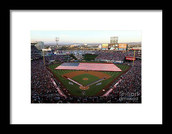 American League Baseball Framed Print featuring the photograph Chicago Cubs V Los Angeles Angels Of by Sean M. Haffey