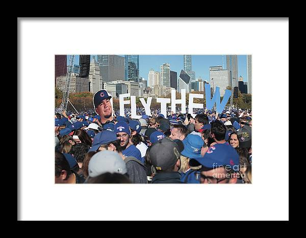 American League Baseball Framed Print featuring the photograph Chicago Cubs Victory Celebration by Scott Olson