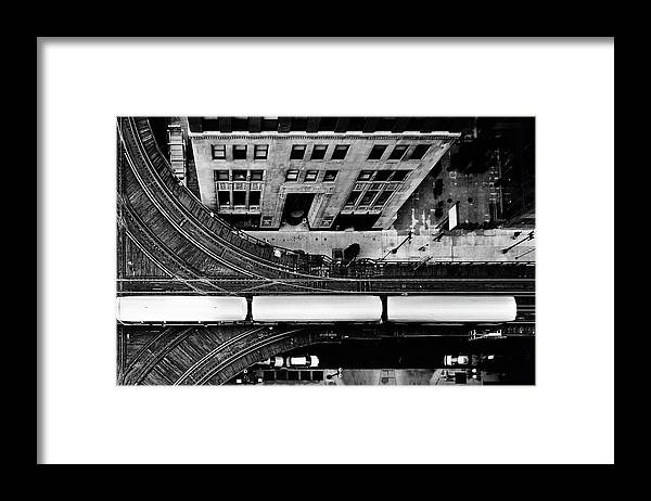 Railroad Track Framed Print featuring the photograph Chicago L Train On Tracks by Photo By John Crouch