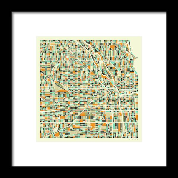 Chicago Framed Print featuring the digital art Chicago Map 1 by Jazzberry Blue