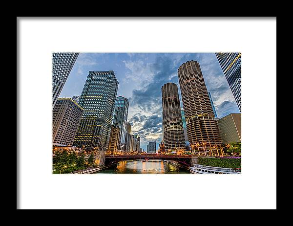 Chicago River Framed Print featuring the photograph Chicago River Sunset by Carl Larson Photography