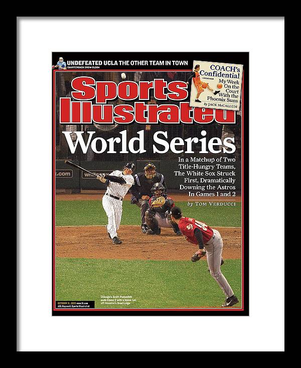Magazine Cover Framed Print featuring the photograph Chicago White Sox Scott Podsednik, 2005 World Series Sports Illustrated Cover by Sports Illustrated