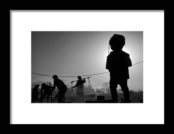 Nepal Framed Print featuring the photograph Child Labour Is Just Not Fair by Yvette Depaepe