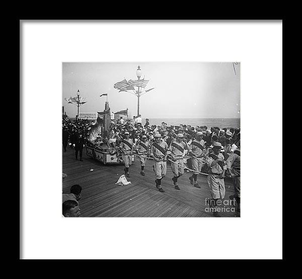 Crowd Of People Framed Print featuring the photograph Children Pull Float With Miss Pittsburgh by Bettmann
