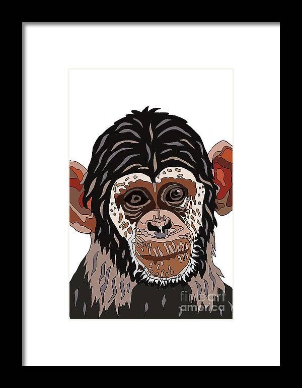 Chimp Art Framed Print featuring the digital art Chimp by Karen Elzinga