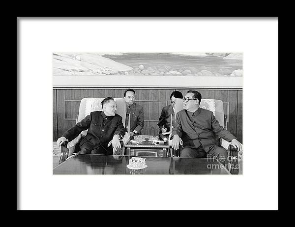 People Framed Print featuring the photograph Chinese And Korean Leaders by Bettmann