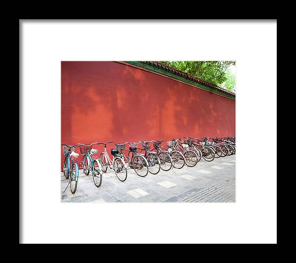 Shadow Framed Print featuring the photograph Chinese Bikes by Sam Diephuis