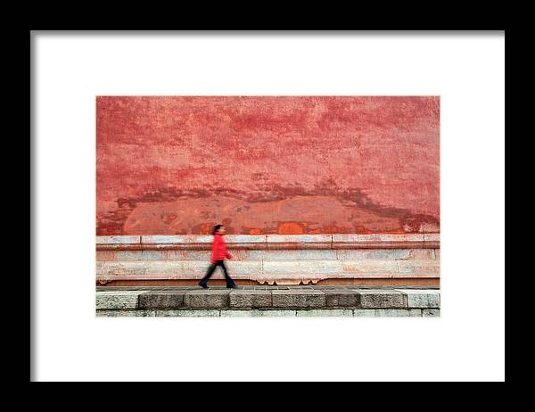 People Framed Print featuring the photograph Chinese Young Lady Walking By Monument by Grant Faint