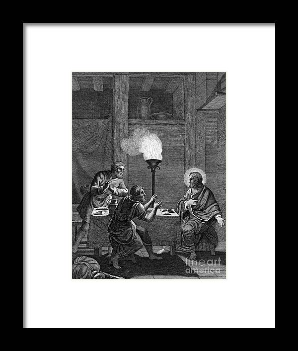 Engraving Framed Print featuring the drawing Christ And The Two Disciples At Emmaus by Print Collector