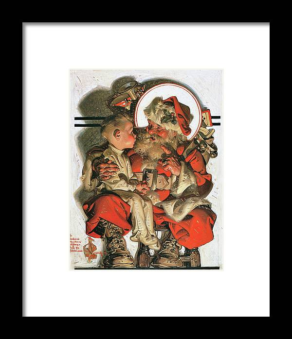 Joseph Christian Leyendecker Framed Print featuring the painting Christmas Eve - Digital Remastered Edition by Joseph Christian Leyendecker