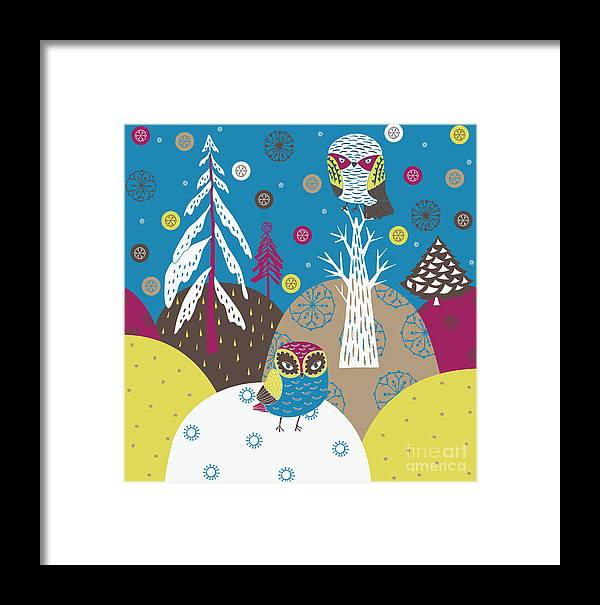 Forest Framed Print featuring the digital art Christmas Forest by Lavandaart