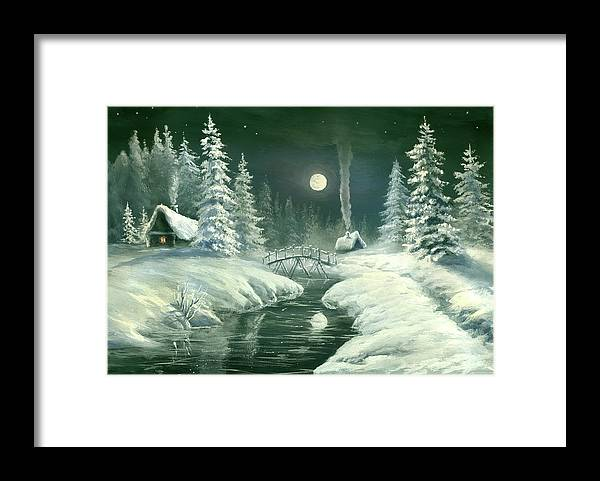 Art Framed Print featuring the digital art Christmas Night In The Country by Pobytov