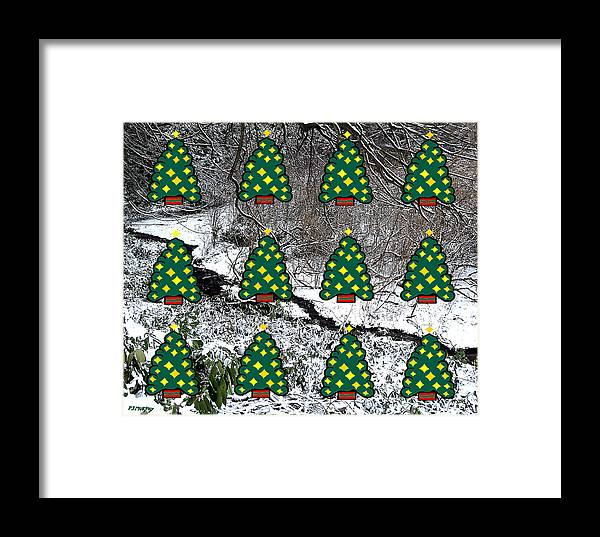 Christmas Framed Print featuring the mixed media Christmas Trees by Patrick J Murphy
