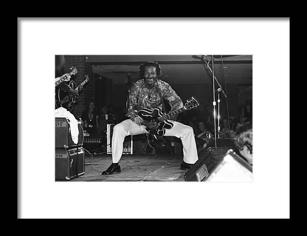 1980-1989 Framed Print featuring the photograph Chuck Berry Performs Live by Richard Mccaffrey
