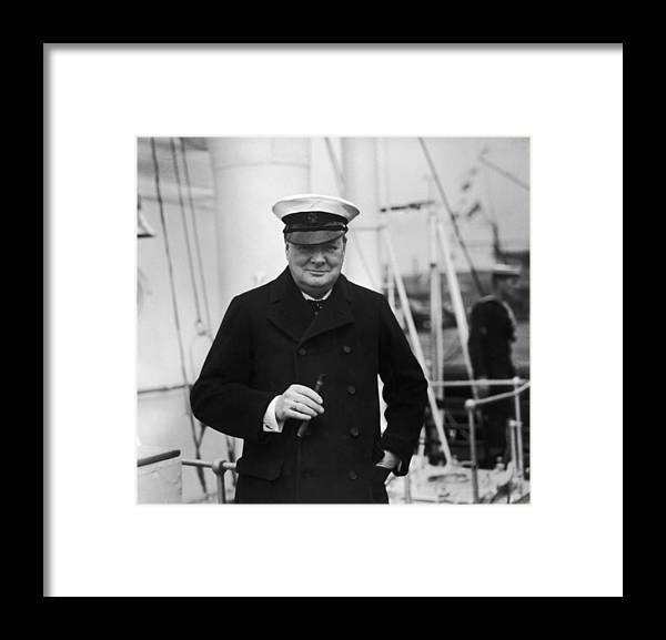 People Framed Print featuring the photograph Churchill On Ship by Topical Press Agency