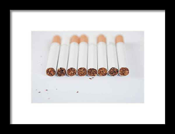 White Background Framed Print featuring the photograph Cigarette by Shui Ta Shan