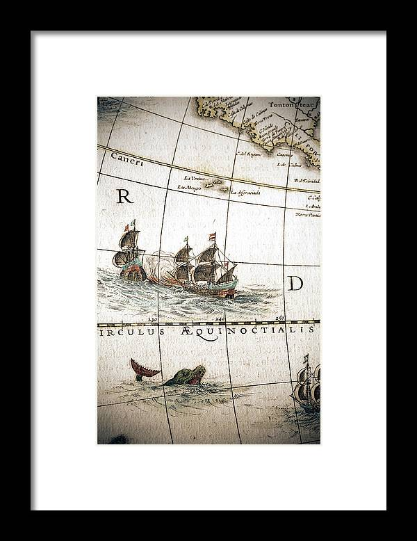 Engraving Framed Print featuring the digital art Circulus Aequinoctalis, Historical Map by Goldhafen