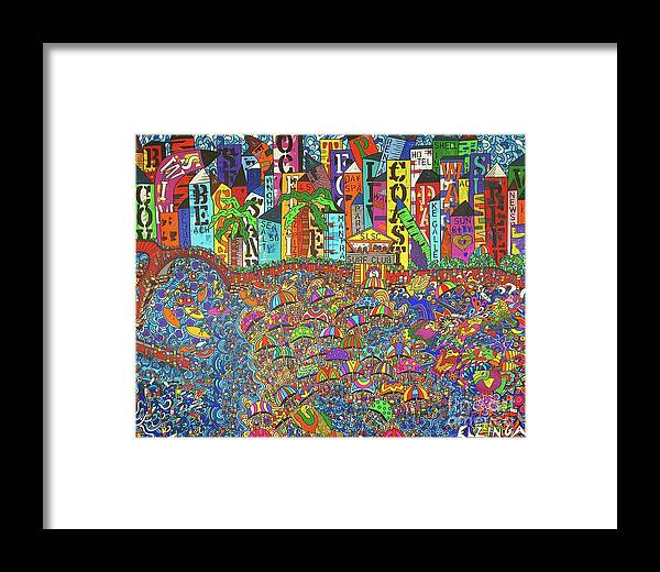 City And Bay Framed Print featuring the painting City Meets The Bay by Karen Elzinga