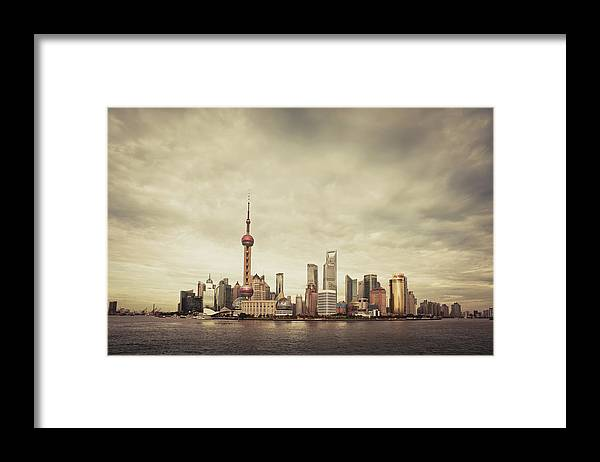 Communications Tower Framed Print featuring the photograph City Skyline At Sunset, Shanghai, China by D3sign