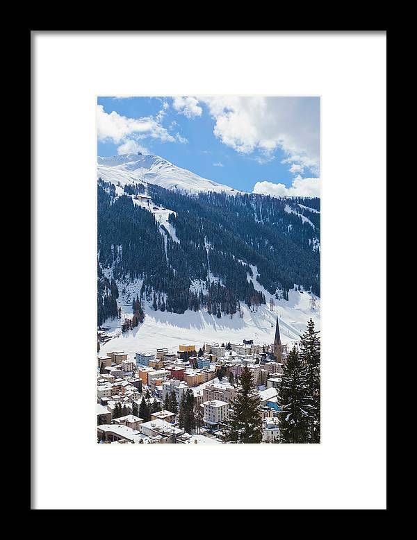 Snow Framed Print featuring the photograph Cityscape Of Davos, Grisons, Switzerland by Werner Dieterich