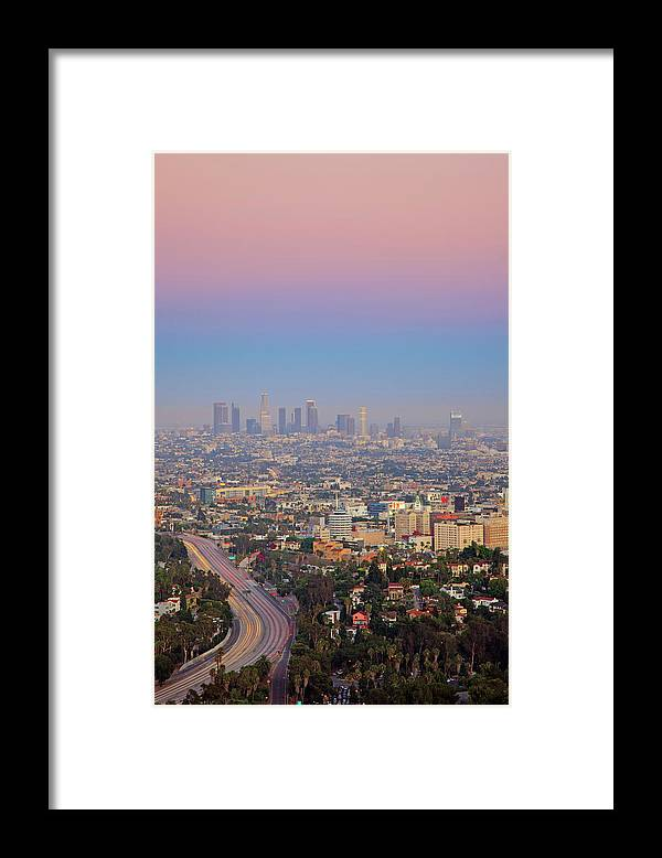California Framed Print featuring the photograph Cityscape Of Los Angeles by Eric Lo