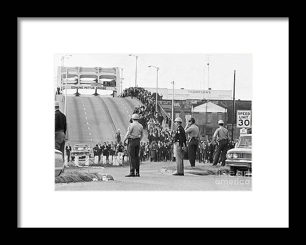 Marching Framed Print featuring the photograph Civil Rights Marchers On Bridge by Bettmann