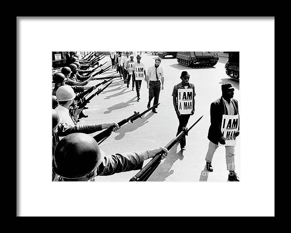 Marching Framed Print featuring the photograph Civil Rights Marchers With I Am A Man by Bettmann