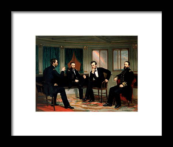Civil War Framed Print featuring the painting Civil War Union Leaders - The Peacemakers - George P.A. Healy by War Is Hell Store