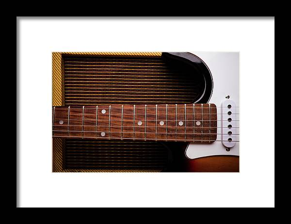 Rock Music Framed Print featuring the photograph Classic Electric Guitar And Amp Still by Halbergman