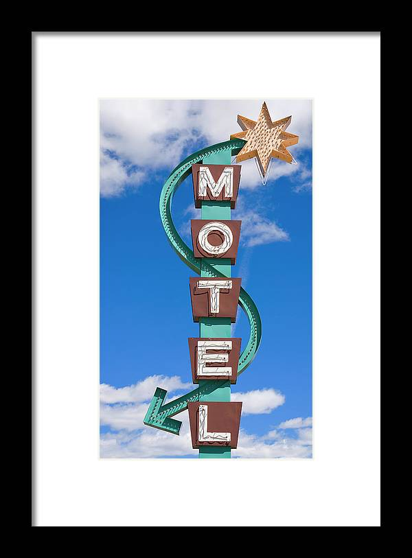 In A Row Framed Print featuring the photograph Classic Motel Sign by Elementalimaging
