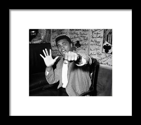 Muhammad Ali - Boxer - Born 1942 Framed Print featuring the photograph Clay Predicts Five by Kent Gavin