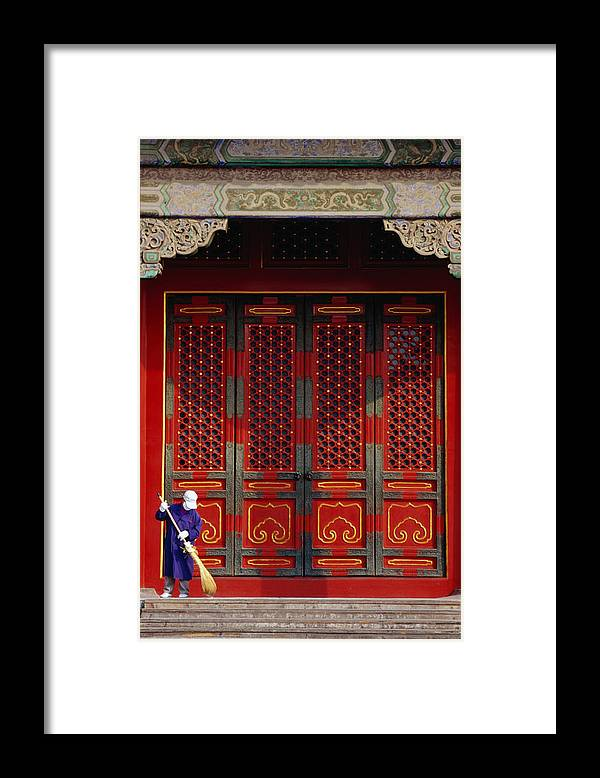 Working Framed Print featuring the photograph Cleaner Sweeps Steps Inside The by Lonely Planet