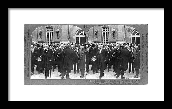 The End Framed Print featuring the photograph Clemenceau, Wilson, And Lloyd George At by The New York Historical Society