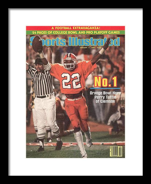 1980-1989 Framed Print featuring the photograph Clemson University Perry Tuttle, 1982 Orange Bowl Sports Illustrated Cover by Sports Illustrated