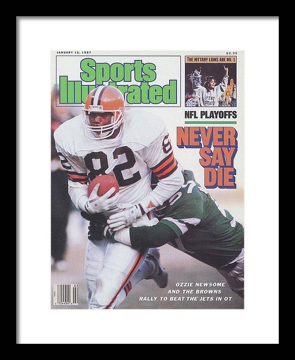 Playoffs Framed Print featuring the photograph Cleveland Browns Ozzie Newsome, 1987 Afc Divisional Playoffs Sports Illustrated Cover by Sports Illustrated