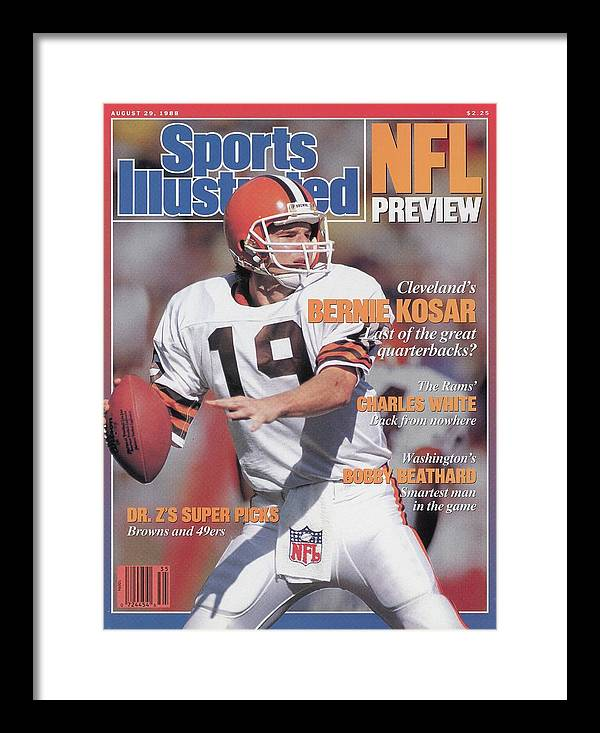 1980-1989 Framed Print featuring the photograph Cleveland Browns Qb Bernie Kosar, 1988 Nfl Football Preview Sports Illustrated Cover by Sports Illustrated
