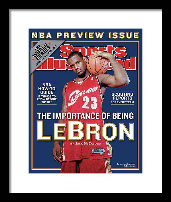 Magazine Cover Framed Print featuring the photograph Cleveland Cavaliers LeBron James, 2003-04 Nba Basketball Sports Illustrated Cover by Sports Illustrated