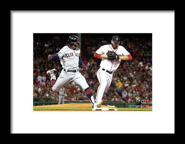 People Framed Print featuring the photograph Cleveland Indians V Boston Red Sox by Adam Glanzman