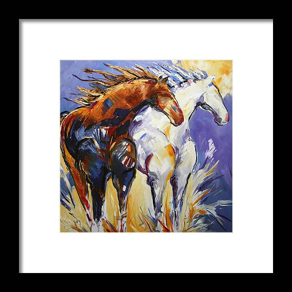 Horse Painting Framed Print featuring the painting Cliffhangers by Laurie Pace