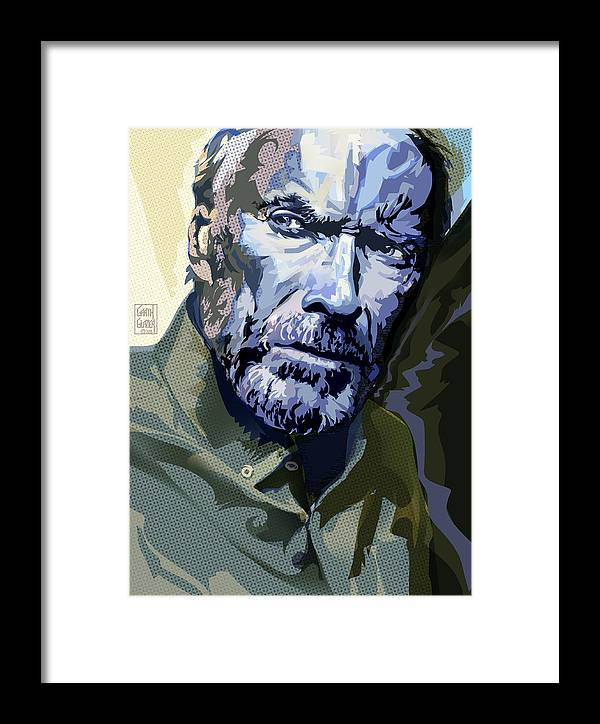 Clint Eastwood Framed Print featuring the digital art Clint Eastwood Pop Art Portrait by Garth Glazier