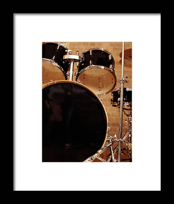Microphone Stand Framed Print featuring the photograph Close-up Of A Drum Kit by Digital Vision.