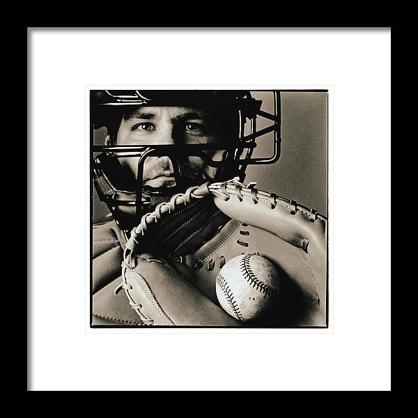 Baseball Catcher Framed Print featuring the photograph Close-up Of Catcher by Anthony Saint James