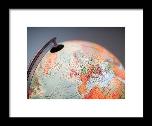 Globe Framed Print featuring the photograph Close-up Of Globe by Kindler, Andreas