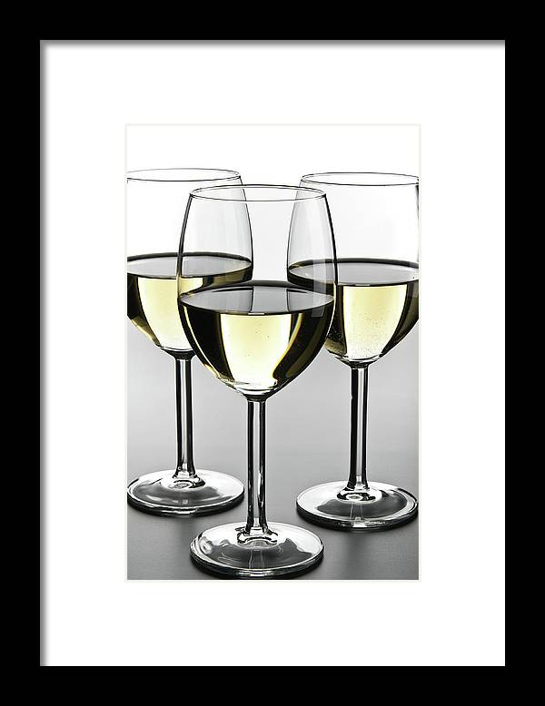 Alcohol Framed Print featuring the photograph Close-up Of Three White Wine Glasses by Domin domin