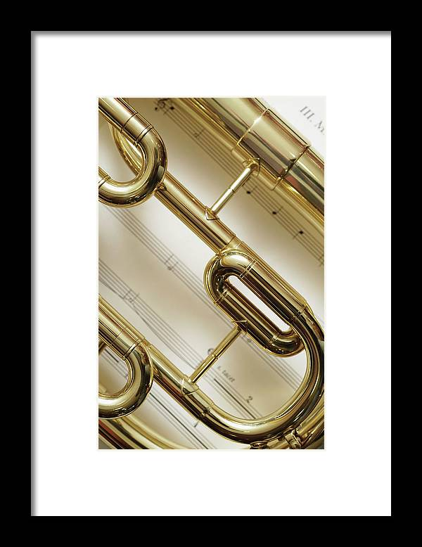 Sheet Music Framed Print featuring the photograph Close-up Of Trumpet by Medioimages/photodisc